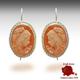 Venice shell cameo earrings slver dangle - Size : 10-12 mm