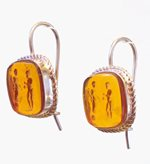 Intaglio Cameos Jewelry Vintage Earrings Amber