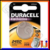 Duracell Lithium CR2450 DL2450 Pile 3V - Blister 1 Batteria