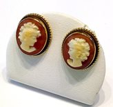 Old Gold Cameo Earrings studs rope