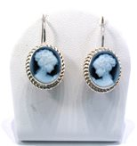 Venice blue cameo earrings dangle - Size : 10-12 mm