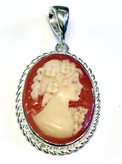 Shell Italian cameo silver pendant for Factory Prices - Size : 1.2 inches